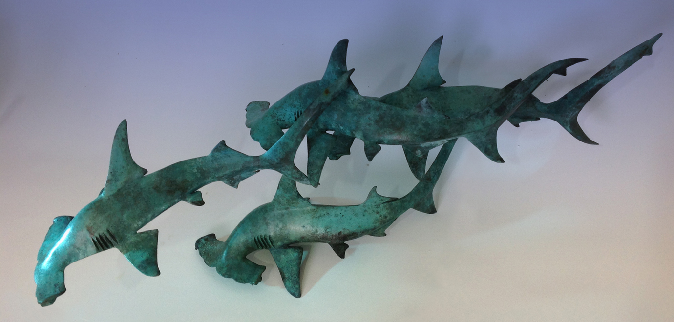 Hammerhead Shark Sculpture, Bronze Hammerhead Sharks, Hammerhead Sharks by Nicolas Pain